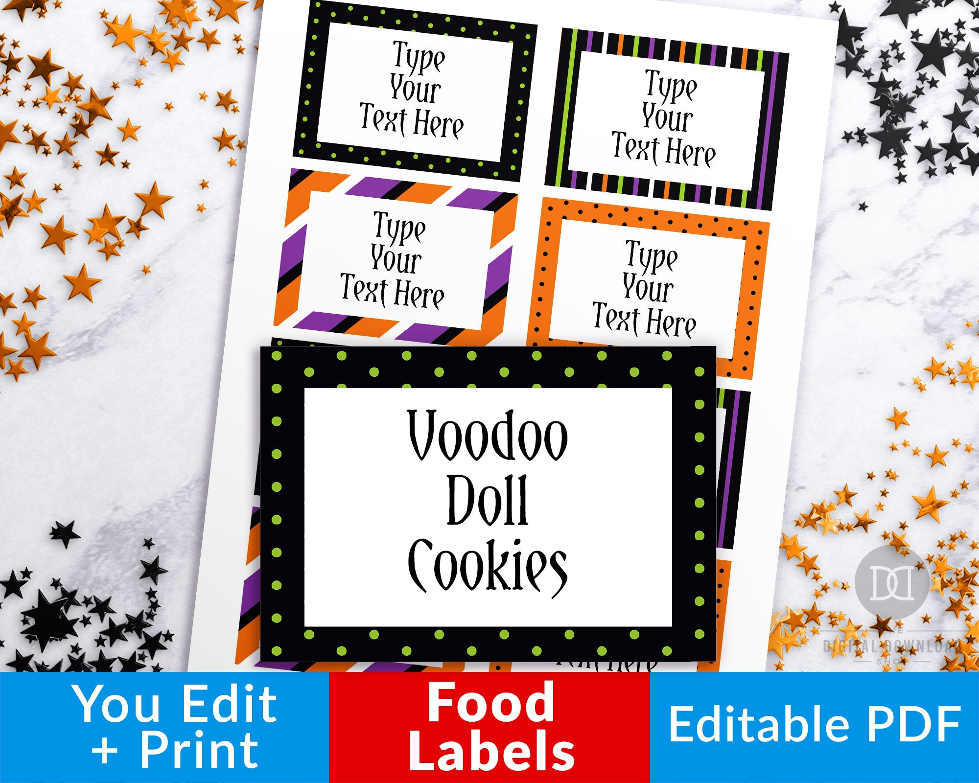 photograph regarding Printable Halloween Labels titled Halloween Foods Labels Printable Editable