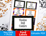 Editable and printable Halloween food labels. These editable food tags are the perfect addition to your Halloween party's buffet table! | #Halloween #HalloweenParty #labels #tags #DigitalDownloadShop