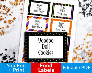 Halloween Food Labels Printable Editable