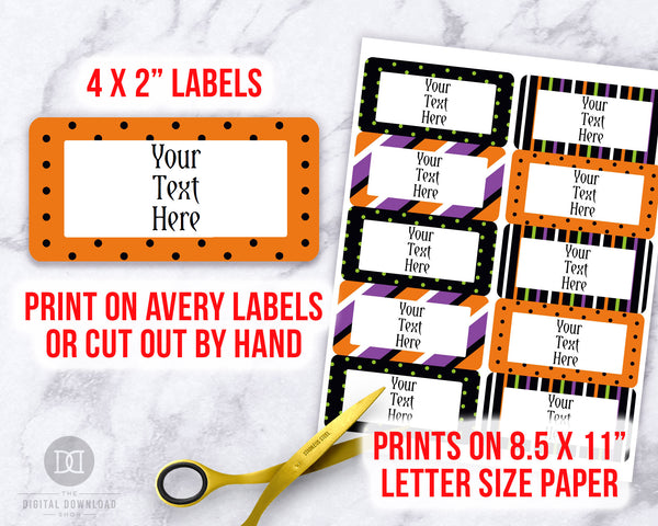 Editable and printable Halloween labels. These editable food labels are the perfect addition to your Halloween party's buffet table!
