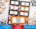 Halloween Labels Printable Editable