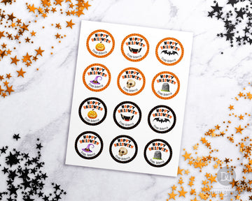 Halloween Round Stickers Editable Printable *EDIT ONLINE*