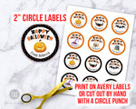 Halloween Round Stickers Editable Printable