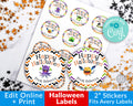 Halloween Monster Circle Labels Editable Printable *EDIT ONLINE*