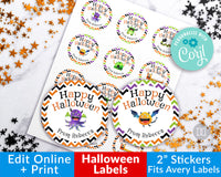 Halloween Monster Circle Labels Editable Printable