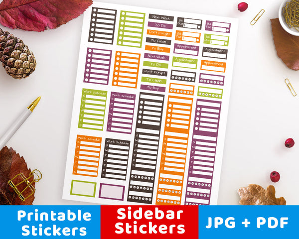 Halloween Sidebar Printable Planner Stickers