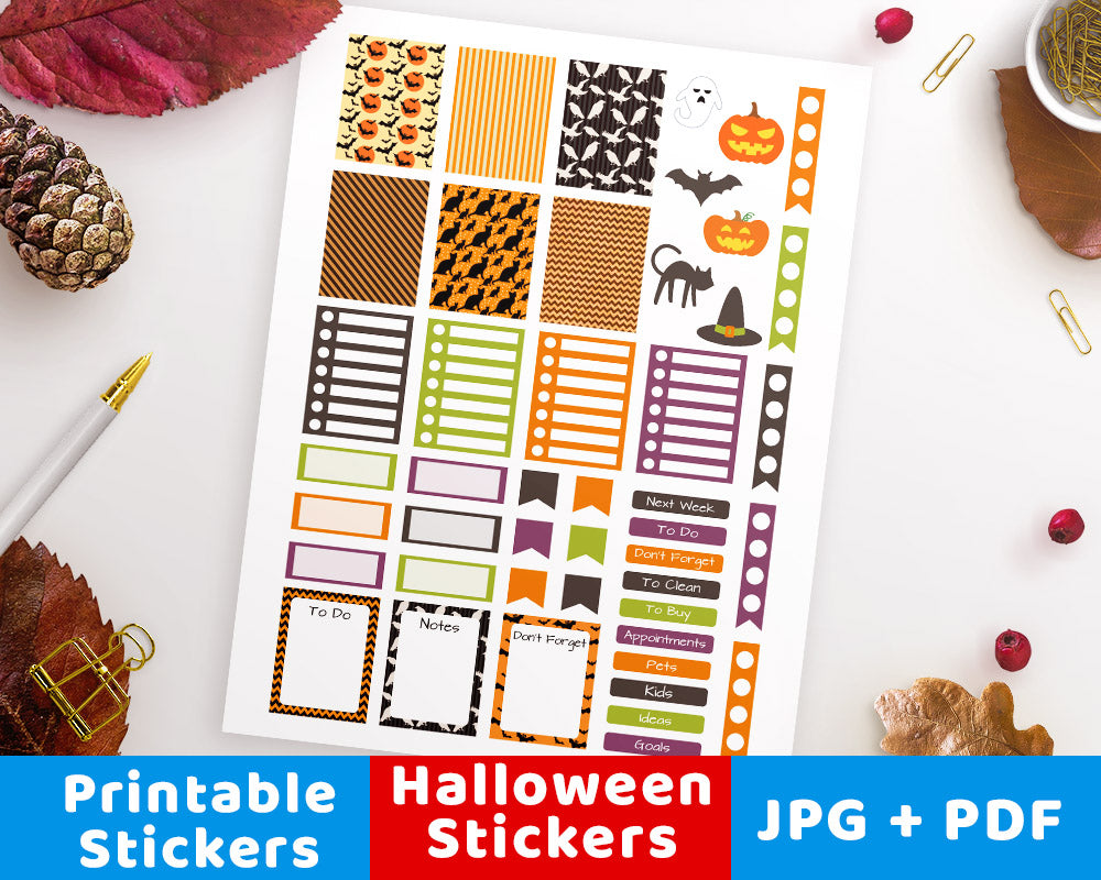 photograph about Halloween Stickers Printable known as Halloween Printable Planner Stickers