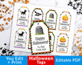 Halloween Tags Printable Editable- Happy Halloween Chevron