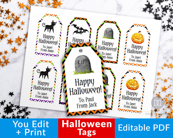 Editable and printable Halloween tags with cute Halloween graphics! These editable tags would make wonderful finishing touches to Halloween party favors or Halloween treat bags!