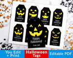 Editable and printable Halloween tags with fun Jack O'Lantern faces! These editable tags would make wonderful finishing touches to Halloween party favors or Halloween treat bags!