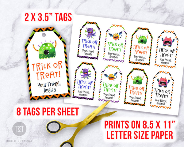 Editable and printable Halloween tags with fun monster graphics! These editable tags would make wonderful finishing touches to Halloween party favors or Halloween treat bags!