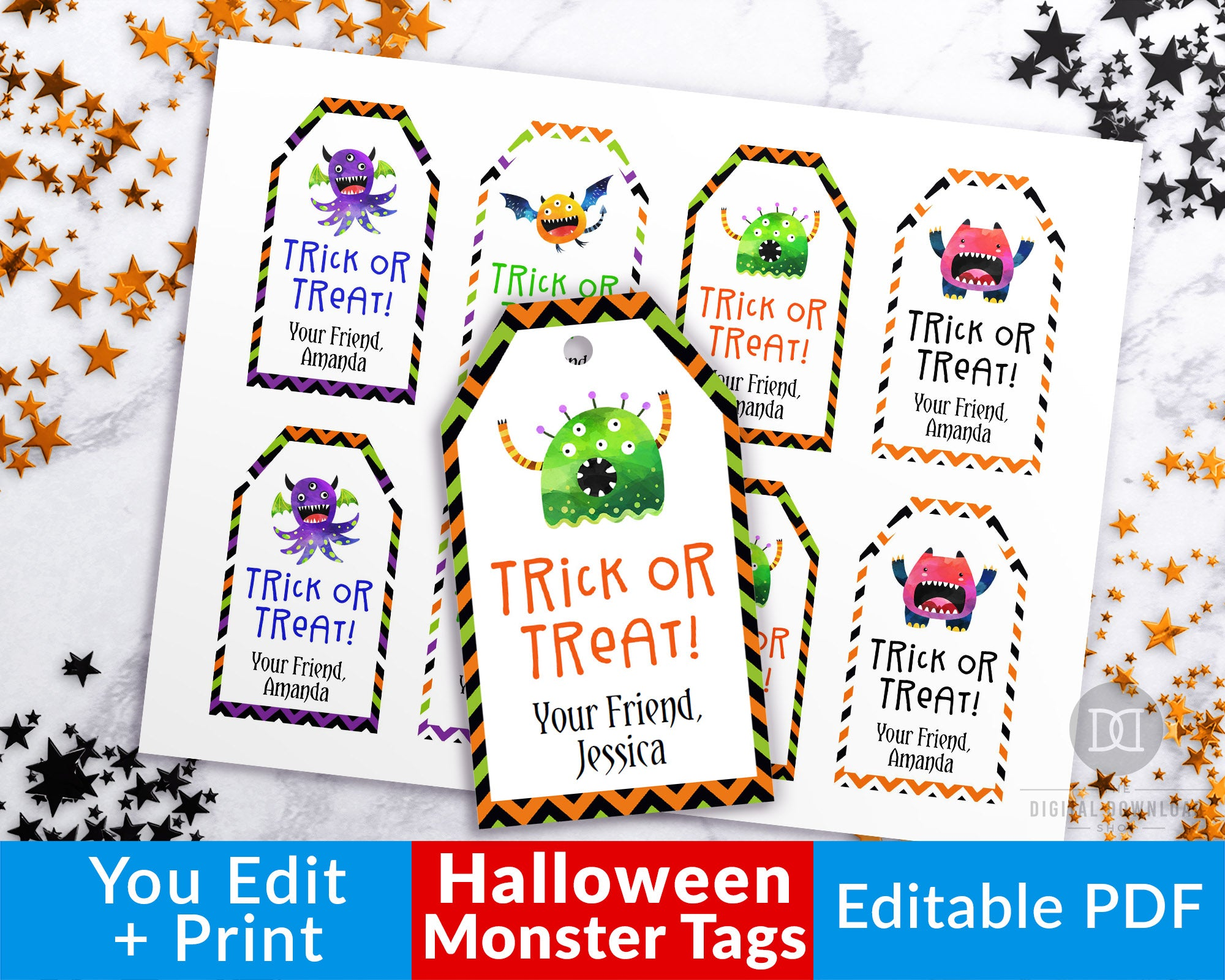 picture relating to Tags Printable referred to as Halloween Tags Printable Editable- Monsters