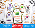 Halloween Tags Printable Editable- Monsters