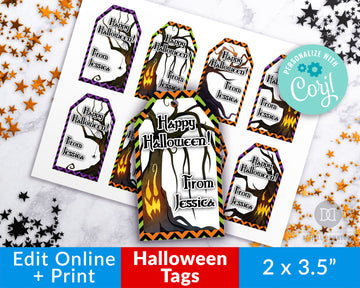 Halloween Tags Editable Printable- Spooky Trees *EDIT ONLINE*