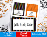 Editable and printable Halloween food tents. These editable buffet cards are the perfect addition to your Halloween party's buffet table, or could be used as place cards!Editable and printable Halloween food tents. These editable buffet cards are the perfect addition to your Halloween party's buffet table, or could be used as place cards! | #Halloween #foodTents #printable #HalloweenParty #DigitalDownloadShop