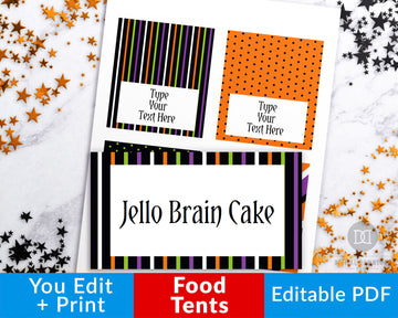 Halloween Food Tents Printable Editable