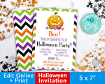 Halloween Party Invitation Template Printable Editable