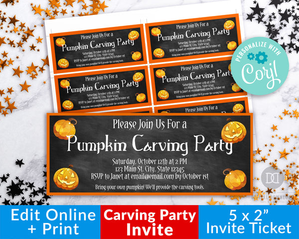 Halloween Carving Party Invitation Printable Editable