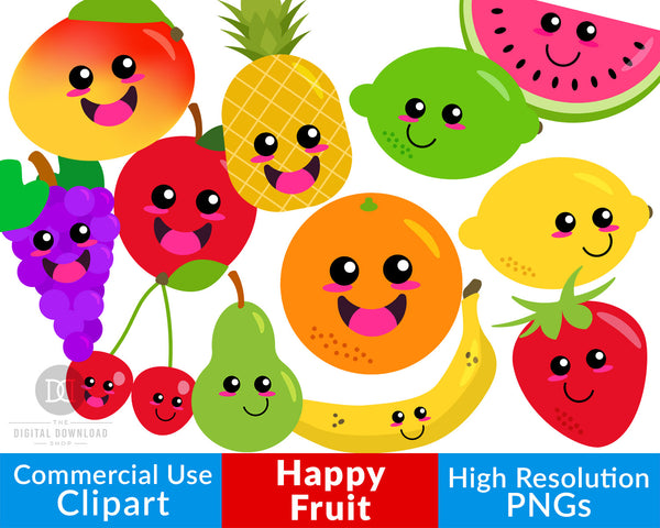 Happy Fruit Clipart- These cute smiling fruits would be perfect for teaching about healthy foods in the classroom, or for creating fun spring/summer projects or scrapbook layouts! | kawaii fruit, cute fruit, healthy food graphics, #clipart #graphics #DigitalDownloadShop