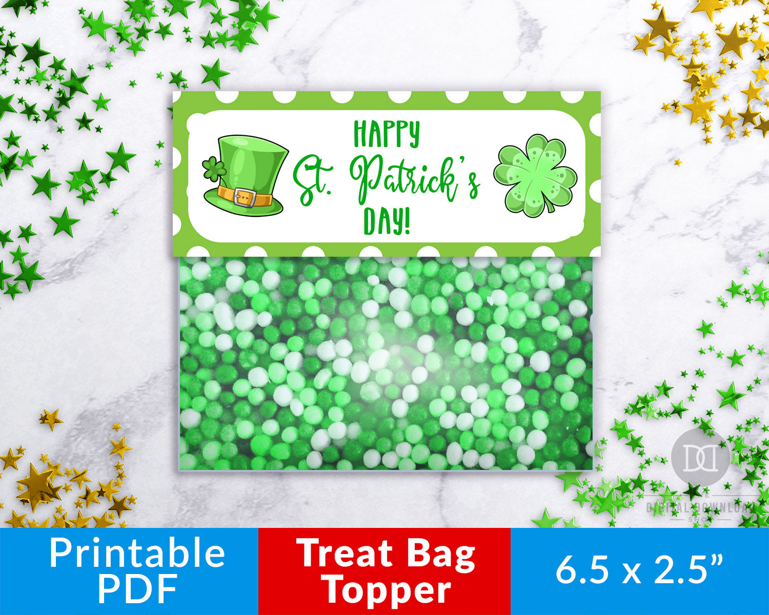 St. Patrick's Day Treat Bag Topper Printable- These fun printable DIY bag toppers are the perfect finishing touch to your Saint Patrick's Day party treat bags! | St. Patty's Day party ideas, Saint Patrick's Day party favors, #StPatricksDay #treatBagTopper #DigitalDownloadShop