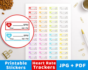 Heart Rate Tracker Printable Planner Stickers