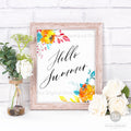 Hello Summer Printable Wall Art- Bright Watercolor Florals