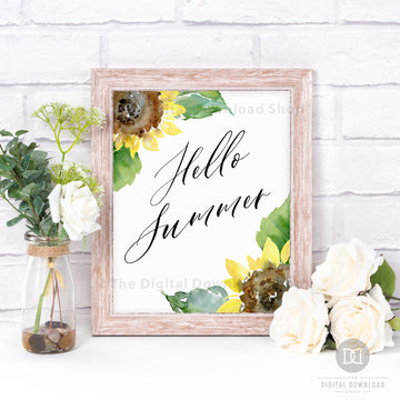 Hello Summer Printable Wall Art- Sunflowers