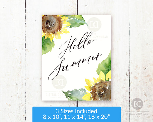 Gorgeous Hello Summer wall art printable with beautiful watercolor sunflowers. This lovely summer decor art print would be the perfect way to brighten up any room of your home!