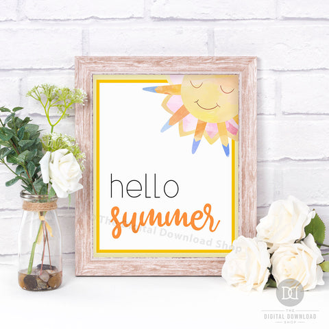 Gorgeous Hello Summer wall art printable with a cute watercolor smiling sun.