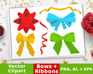 40 Holiday Bows + Ribbons Clipart - The Digital Download Shop