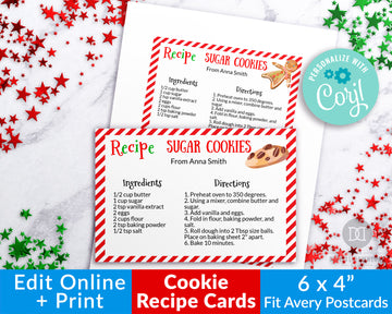 Christmas Cookie Recipe Card Editable Printable *EDIT ONLINE*