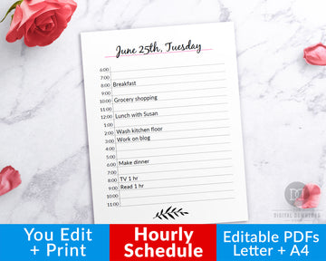 Editable Hourly Planner Printable