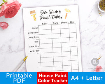House Paint Color Tracker Printable