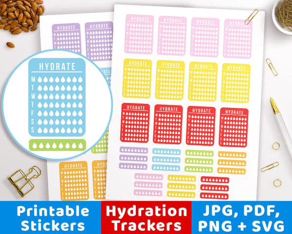 Weekly Hydrate Printable Planner Stickers- The Digital Download Shop