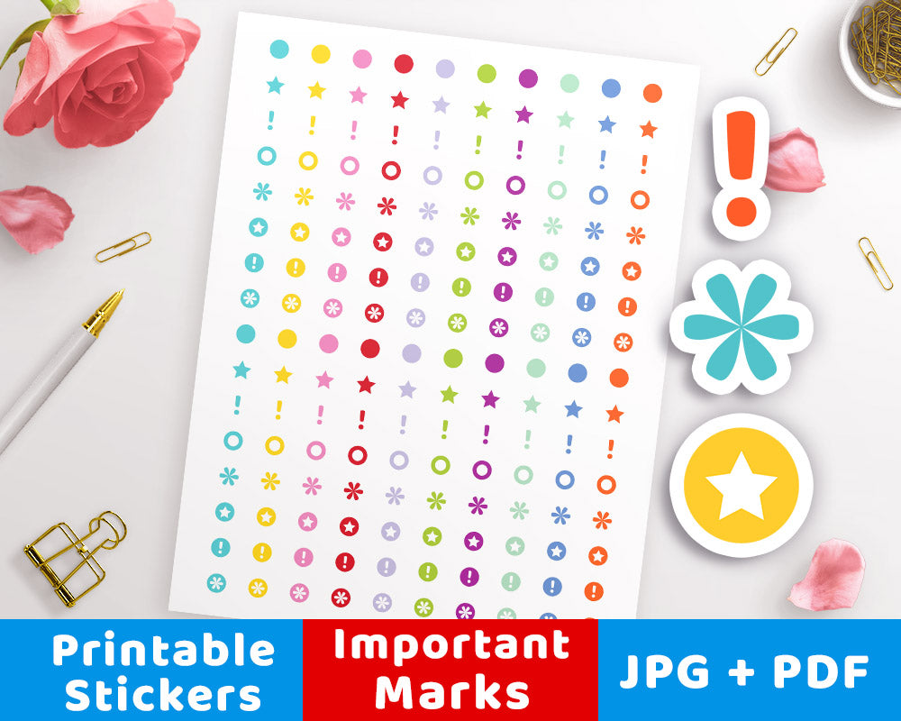 Important Marks Printable Planner Stickers- The Digital Download Shop