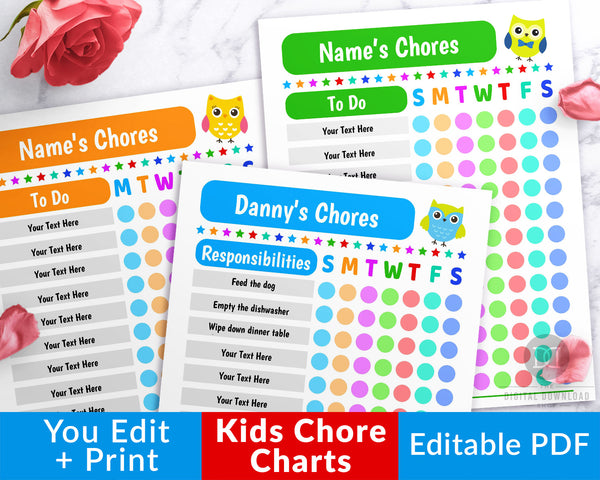 Kids Chore Chart Editable Printable- The Digital Download Shop