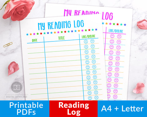 Kids Reading Log Printable- This kids book log is perfect for summer reading lists or for keeping track of reading at any time of year!