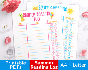 Kids summer reading log printables, in two color styles. Your kids will love using these summer themed book lists to record all that they've read!