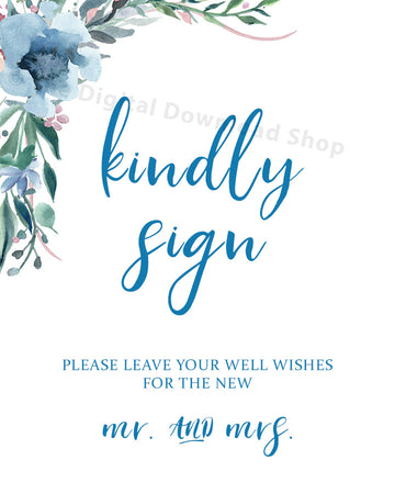 Kindly Sign Wedding Printable- Blue