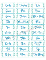 Printable Kitchen Labels Rectangles- Watercolor Leaf