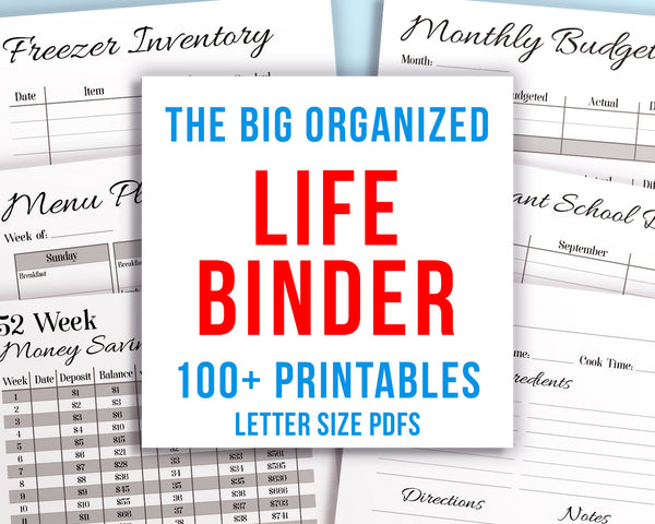 Whole Life Binder Printable- Printable life binder- made up of a black and white budget binder, home binder, and recipe binder. It's easy to get your whole life organized and under control with this big binder printables bundle! | busy mom planner, sahm, stay at home mom, organizing tips, organize your life, #homeBinder #momBinder #DigitalDownloadShop