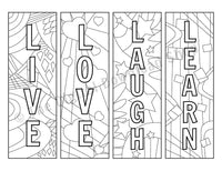 Live, Love... Coloring Page Bookmark Printables