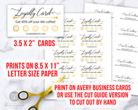 Loyalty Card Template Printable Editable: Gold- These editable customer reward stamp cards are an easy, beautiful, and professional way to issue customer loyalty rewards for your business! | business printables, #smallBusiness #printable #DigitalDownloadShop