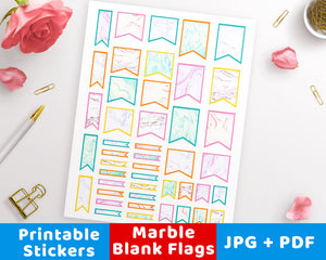 Marble Blank Flag Printable Planner Stickers