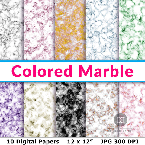 Colored Marble Digital Papers