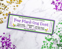 Mardi Gras Event Ticket Printable- 2 Fleur de Lis
