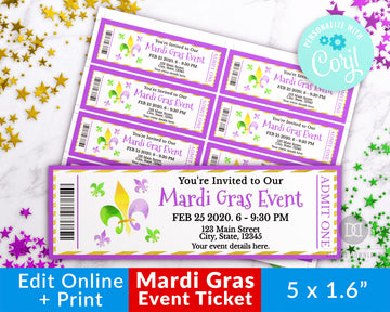 Mardi Gras Event Ticket Printable- Fleur de Lis *EDIT ONLINE*