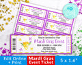Mardi Gras Event Ticket Printable- Mask *EDIT ONLINE*