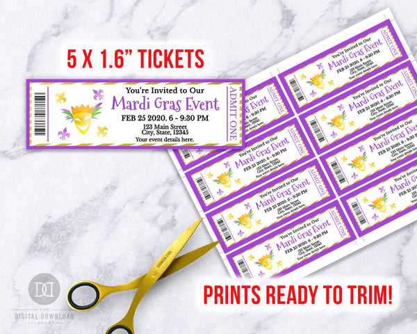 Mardi Gras Event Ticket Printable- Mask