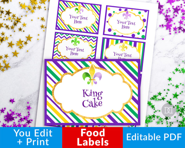 Mardi Gras Food Labels Printable Editable- Your Mardi Gras party will be the talk of the town with these fun editable food labels on your buffet table! | DIY labels, food cards, place cards, buffet food tags printable, #mardiGras #food #DigitalDownloadShop